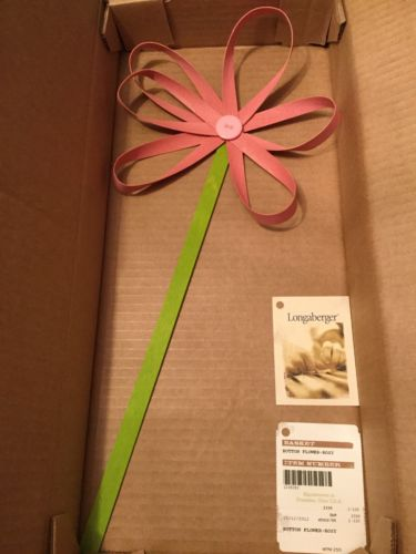 2012 Longaberger Basket Button Flower Rosy New in Box