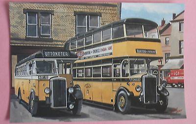 2 Stevensons Buses Rest at Uttoxeter - UK NEW Bus Postcard