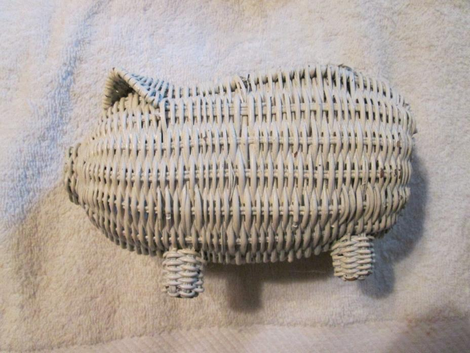 VINTAGE WICKER WOVEN PIG BASKET Painted White