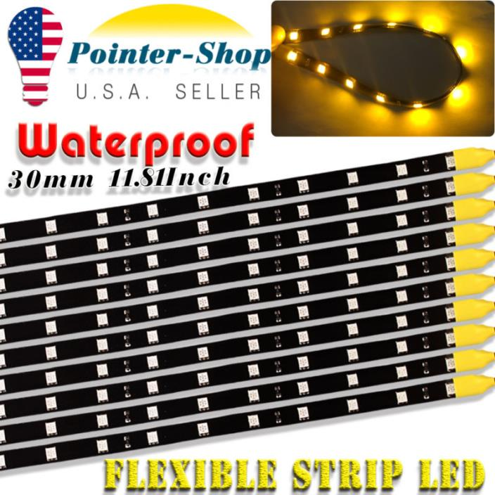 10X 30cm 12LED Car Lighting Flexible Decorative Lamp Strip Bar Waterproof Yellow