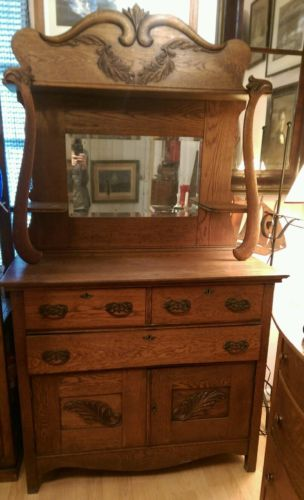 Antique Oak Buffet Sideboard Mirror