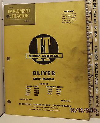 OLIVER COCKSHUTT 1800A - 1950 TRACTOR  I&T SERVICE SHOP MANUAL  GOOD