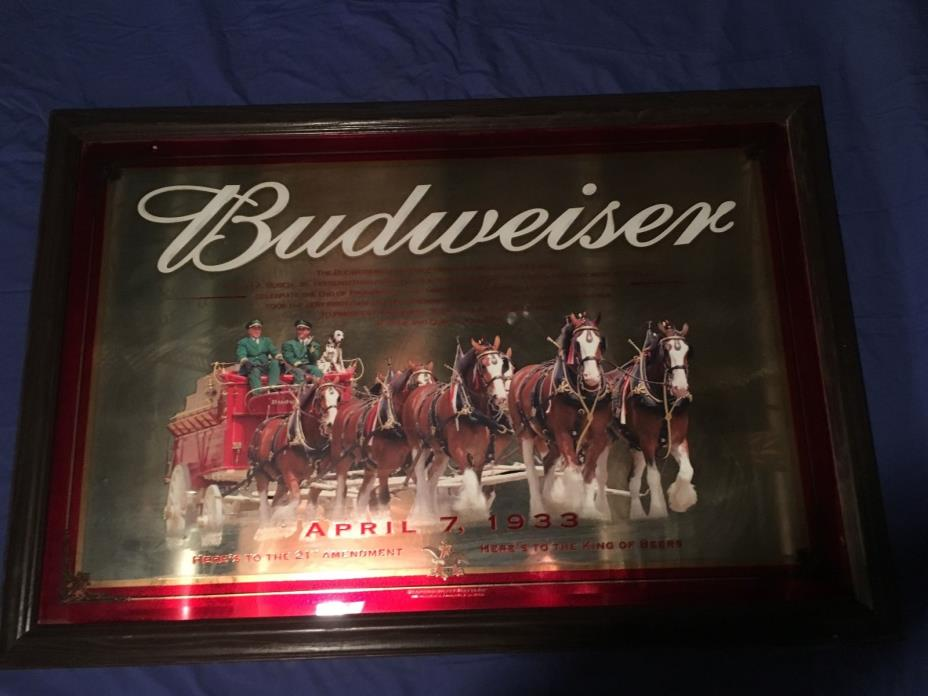 BUDWEISER CLYDESDALE HORSES WAGON BEER SIGN/ MIRROR April 7 1933