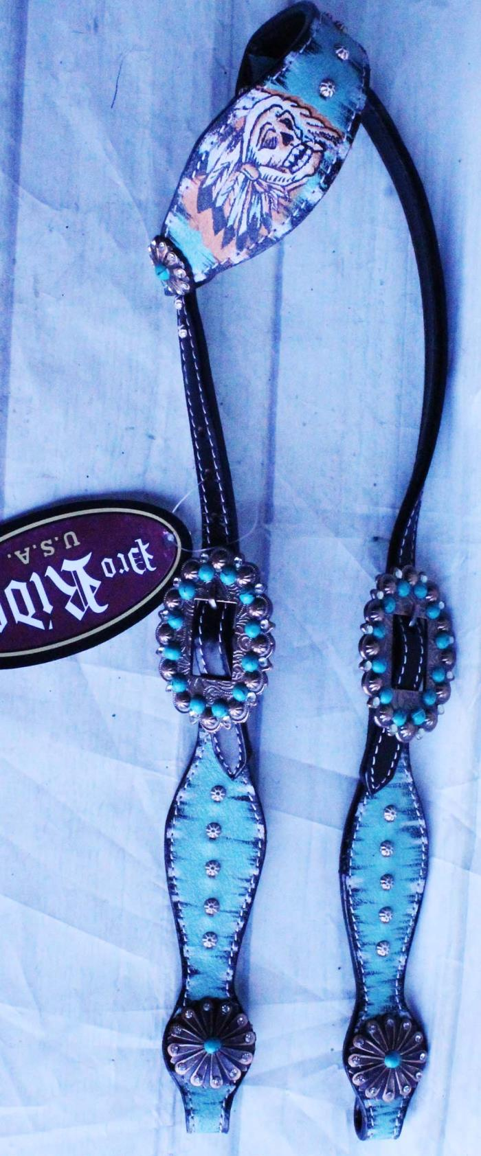 Equine Horse Tack Bridle Western Leather Headstall Rodeo Turquoise 80214HA
