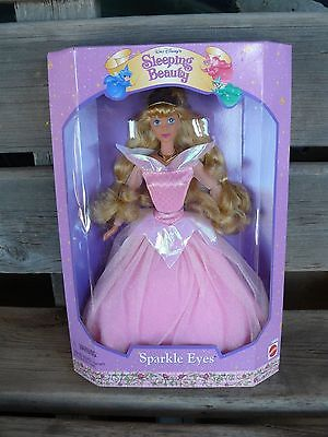 VTG Sleeping Beauty Aurora Sparkle Eyes Disney Doll 15808 Mattel 1996