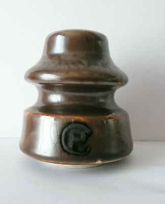 BROWN Porcelain CP U-2239 Canadian Porcelain Insulator * Excellent *