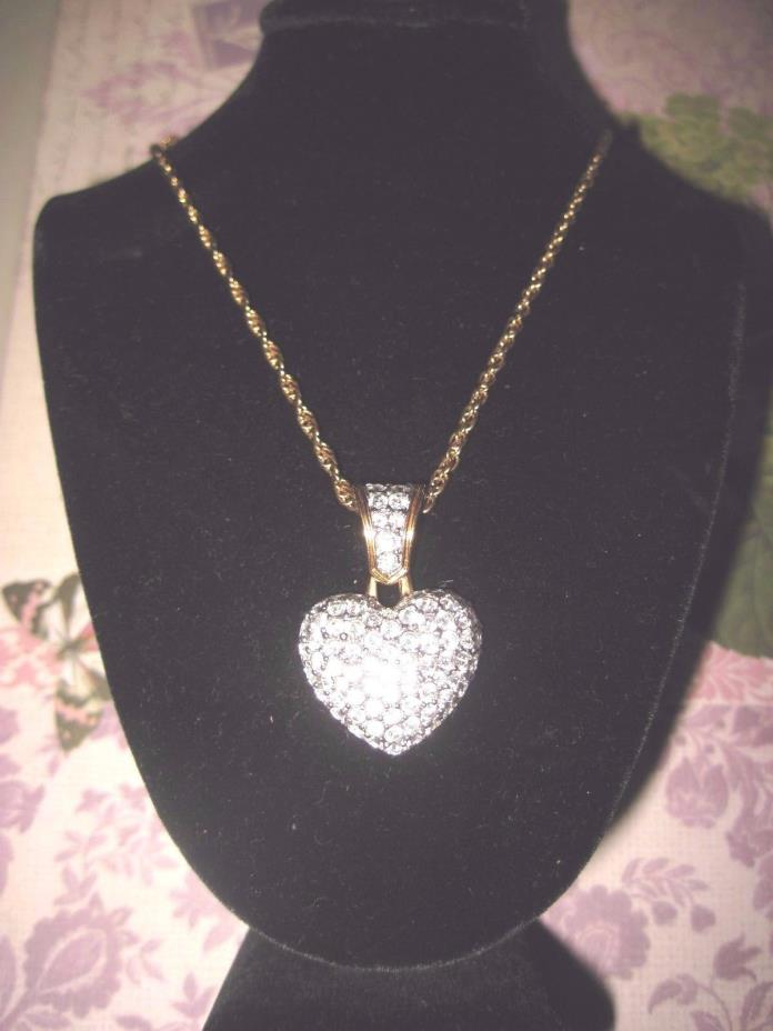 SWAROVSKI Swan Signed GOLD Tone LARGE HEART CRYSTAL PENDANT NECKLACE 18 inches