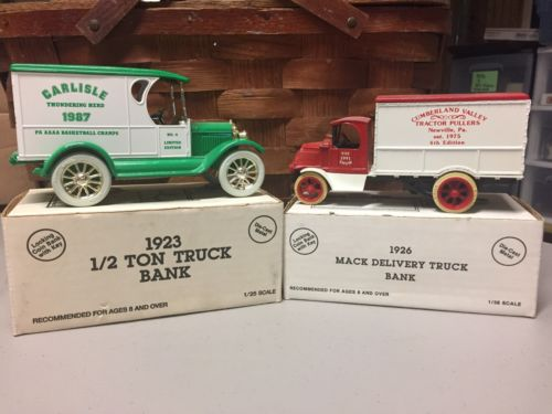 2 ERTL Die Cast 1923 1/2 Ton Truck and 1926 Mack Delivery Truck Banks