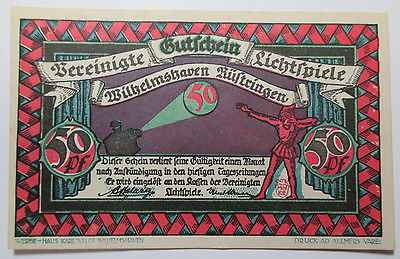 VINTAGE - 1921 NOTGELD HANNOVER WILHELMSHAVEN - 50 PFENNIG - FREE SHIPPING!!!