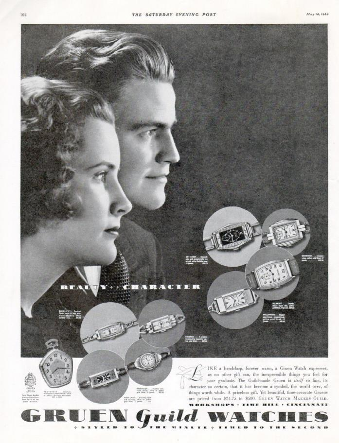 1935 Gruen Guild Watch Ad --Beauty & Charactor ---t861