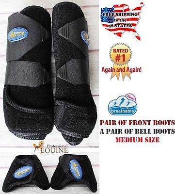 Horse Professional Equine Sports Medicine Splint Boots Bell Boots Black 41BKD