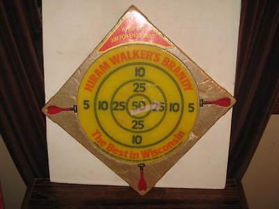 NOS Vtg 1974 HIRAM WALKERS BRANDY Saftee Dartboard Velcro Safety Dart Board Game