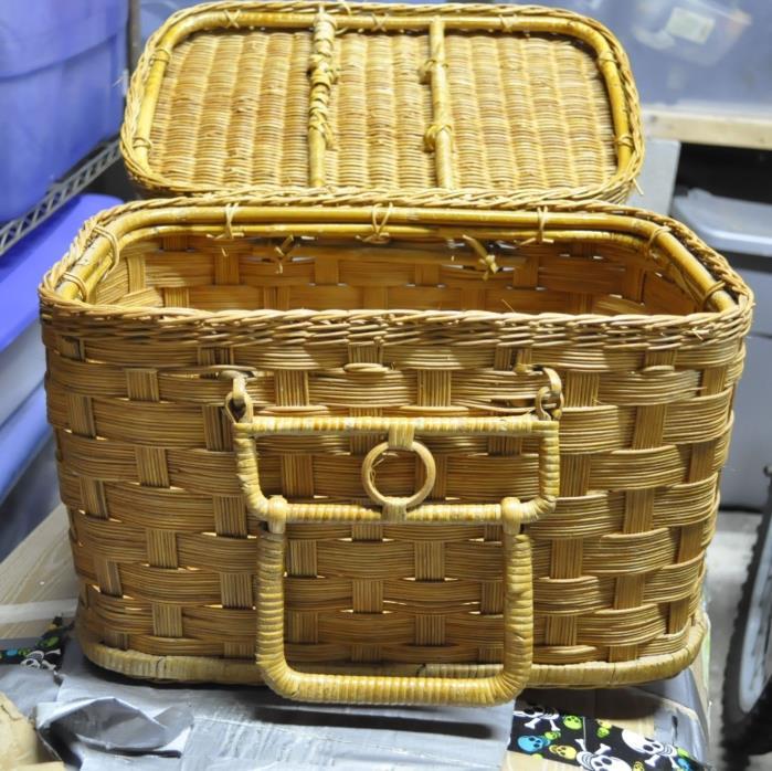 Large Vintage Straw Picnic Basket