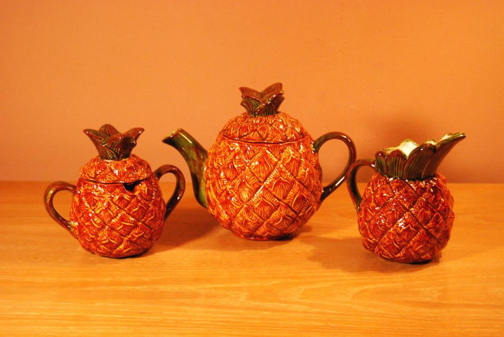 Whimsical Pineapple Teapot, Sugar & Creamer
