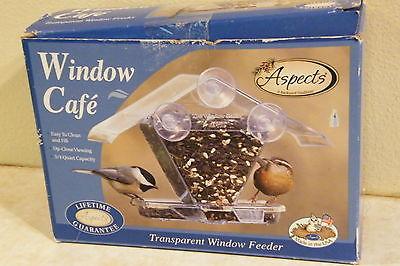 ASPECTS WINDOW CAFE Hopper Bird Feeder Up-Close Viewing TRANSPARENT