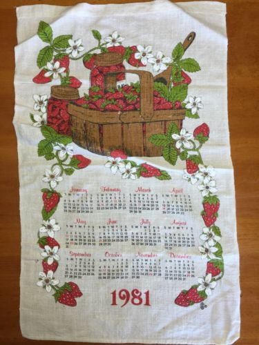 Beautiful Kitchen calendar Cloth towel Vintage 1981 Strawberry Basket