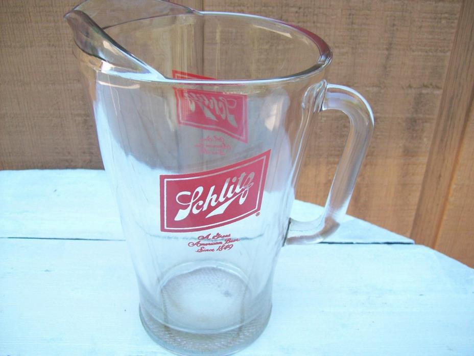 Schlitz Beer Glass Pitcher