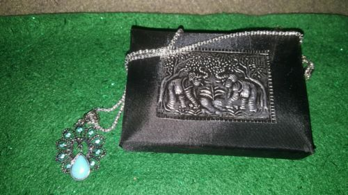 HANDCRAFTED BLUE TURQUOISE PENDANT NECKLACE & SATIN BOX!