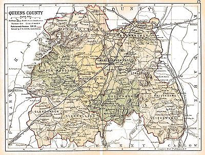 3 prints of antique maps of Queens Co.(Laois) & Ireland & Leinster fact sheet.