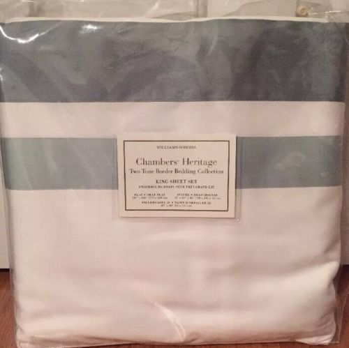 NEW Williams Sonoma Home Chambers Heritage Two Toned KING Sheet Set SEAFOAM $399