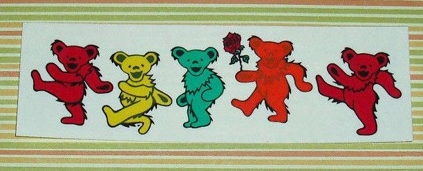 GRATEFUL DEAD VINTAGE DANCING BEARS CLEAR PEEL BACK STICKER