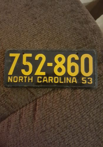 1953 North Carolina General Mills license plate