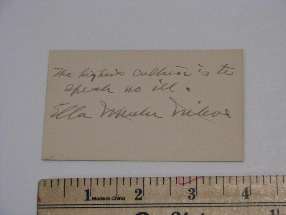 Ella Wheeler Wilcox Author Poet Signature Autograph Inscribed
