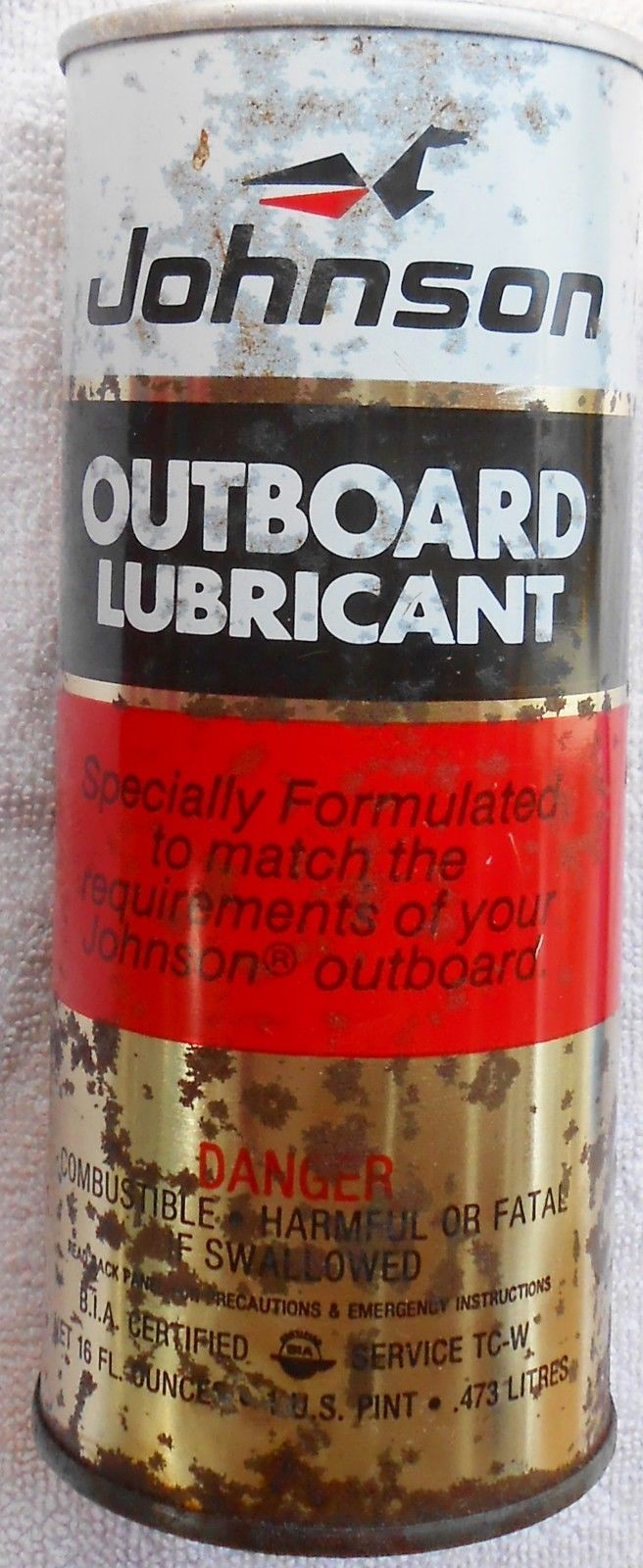 Vintage JOHNSON OUTBOARD LUBRICANT Tin - Empty 1-Pint Can
