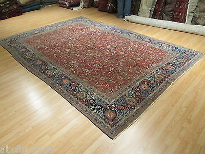 9x13 ANTIQUE 1900 PERSIAN Fine Intricate Kashan Handmade Knotted Wool Rug 580568