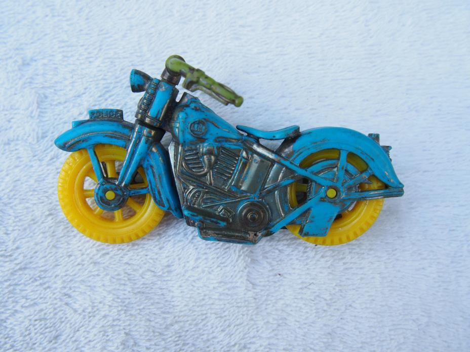 Vintage Acme Police Motorcycle Harley Indian Blue w/ Yellow Wheels Made in USA