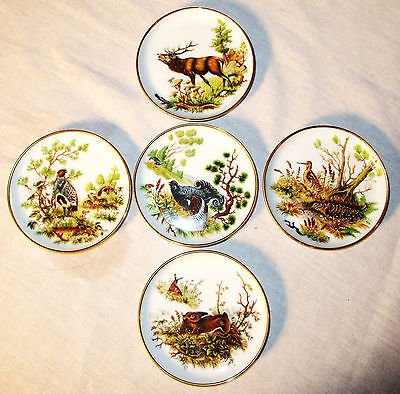 5 Kaiser Porzellan Coasters Germany Small Plates WILDLIFE FOWL & BIRDS Gold Trim