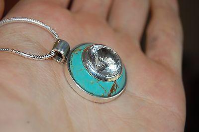 RARE 9ct Payson Diamond & Kingman Turquoise Silver Pendant Lemurian Necklace