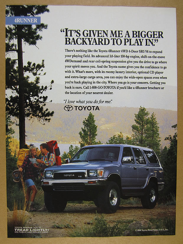 1991 Toyota 4Runner 4WD SR5 V6 4-runner blue truck photo vintage print Ad