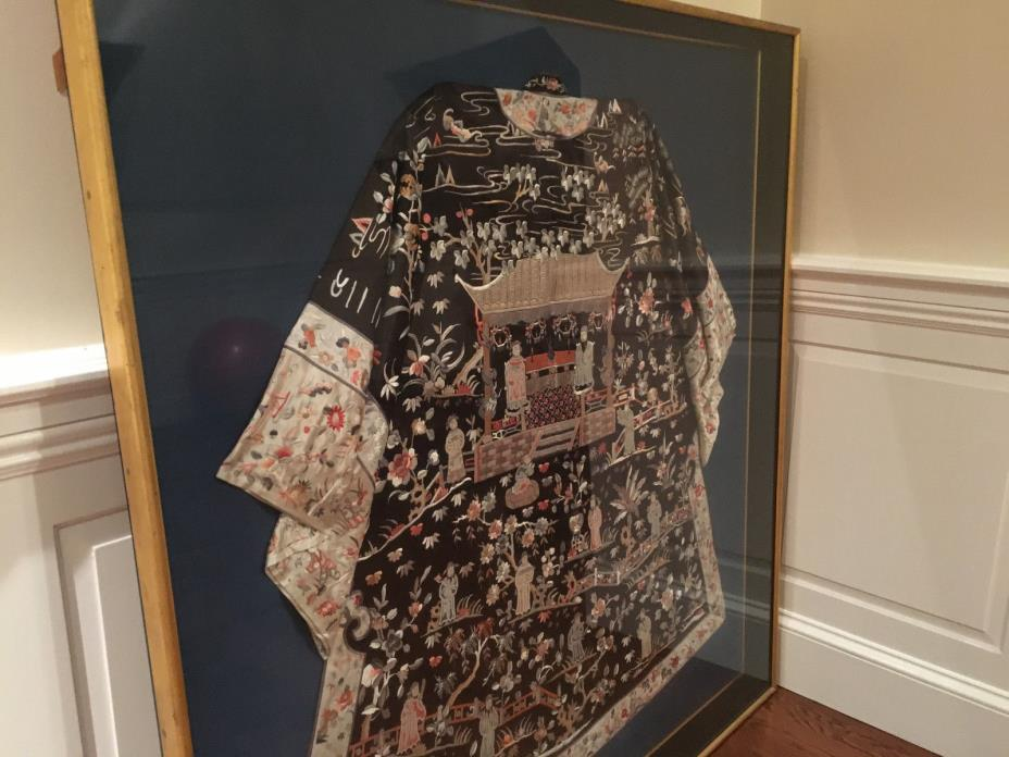A Rare and Important Qing Dynasty Embroidered Wedding Silk Robe, Framed.