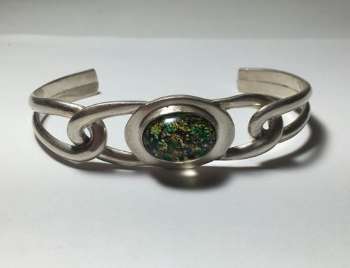 Vintage 925 Mexico Malachite Bracelet Sterling Silver