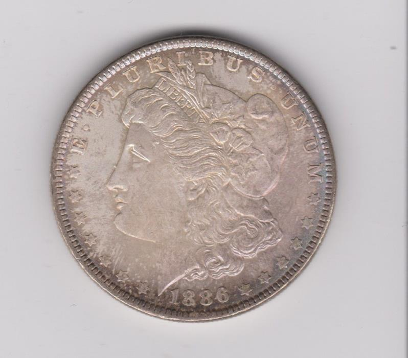 1886 MORGAN SILVER DOLLAR RAINBOW TONED COIN ITEM #1546