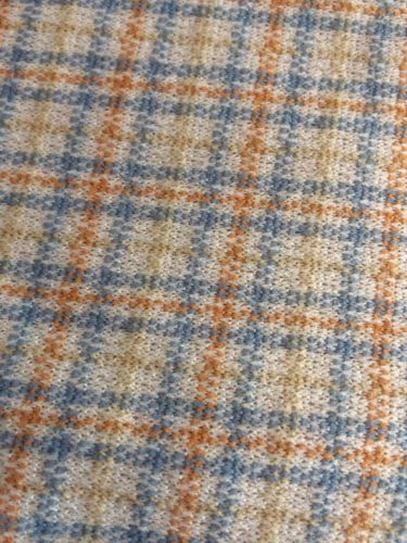 Vintage 70s Gold Blue Houndstooth plaid Print Polyester Fabric