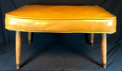 Vtg Footstool Ottoman Mid Century 1950s Wood Leg Original Padded Vinyl Old Deco