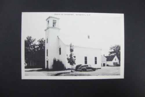 149) OLD CHURCH WITH BELL TOWER AND VINTAGE CARS AT BARNSTEAD NEW HAMPSHIRE