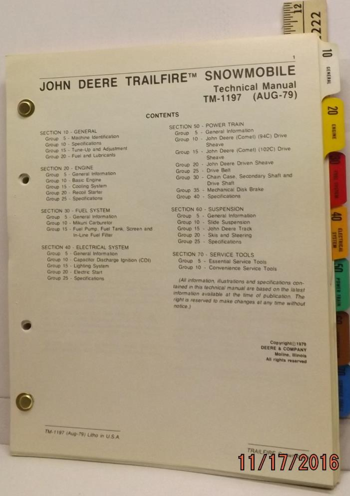 JOHN DEERE TRAILFIRE SNOWMOBILE OEM SERVICE MANUAL VERY GOOD CLEAN