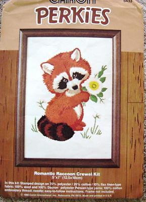 Vintage Romantic Raccoon Crewel Embroidery Kit  Caron Partially Finished Nicely