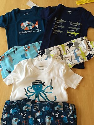 Gymboree Boys Gymmies Pajamas PJ 5 6 7 10 set Shortie Cotton Set NEW Fishes
