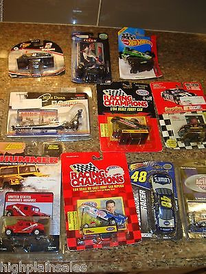 LOT OF 11 DIECAST CARS NASCAR DRAG RACES SOME VINTAGE ALL SEALED