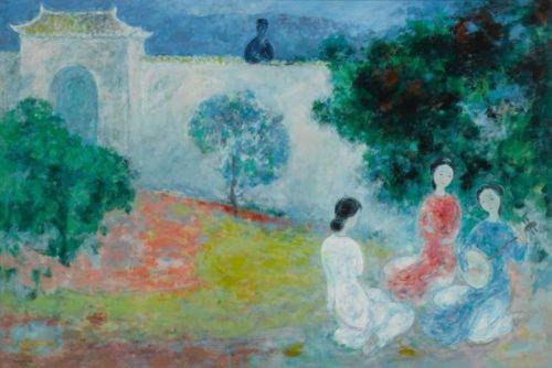 VU CAO DAM | Joueuse de lune : Oil on Canvas.