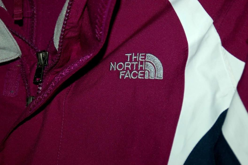 North Face HyVent Girls Magenta / Navy / White Jacket & Fleece Medium 10 / 12