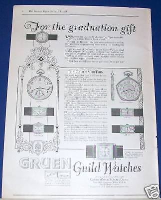 1924 Gruen Guild Watch pocket & wrist Ad