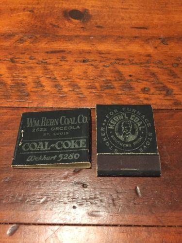 2 Vintage NOS Front Strike Matchbooks Kern'l Coal W.M. Kern St. Louis Missouri