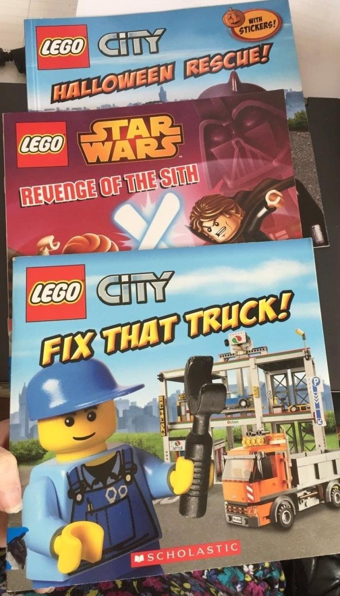 Lego City Star Wars Book Lot 3 Storybooks Duplo Stickers Trucks Revenge of Sith