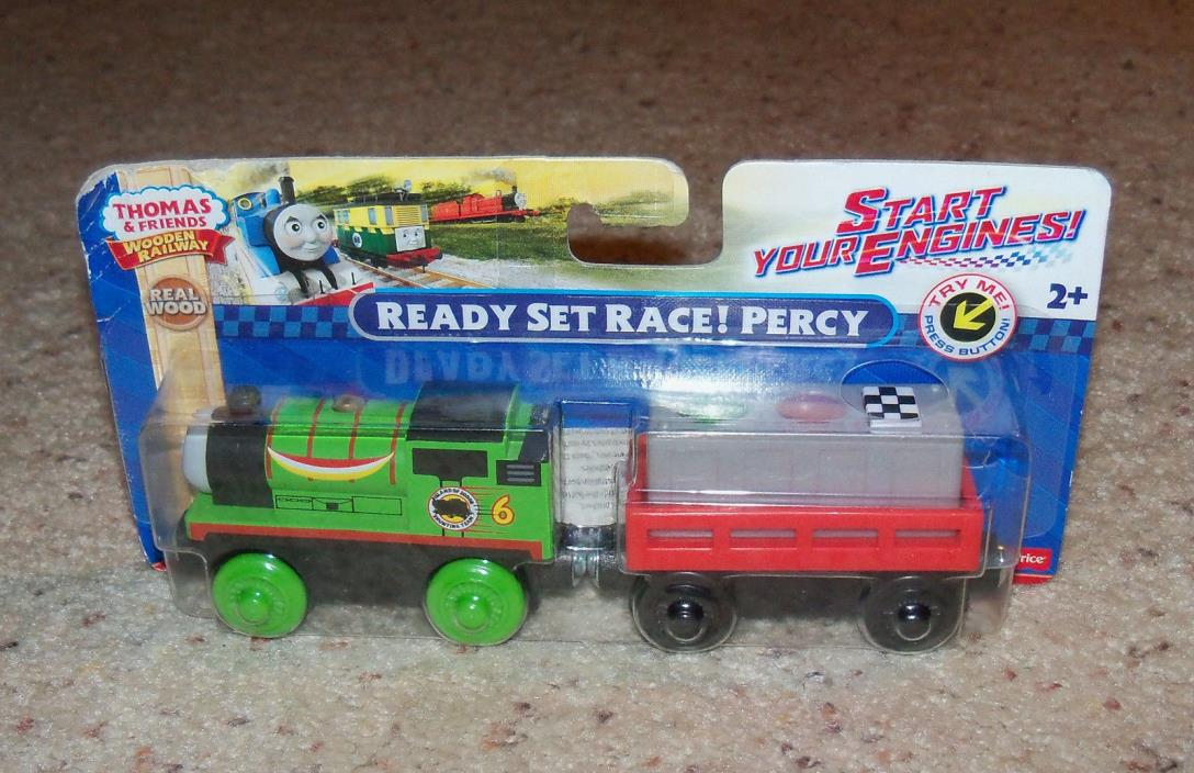 New Box NIB Thomas Train Wood, Wooden Car Set, Ready Set Race Percy Cargo Lights