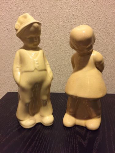Vintage Boy and Girl figurines set pottery vase yellow